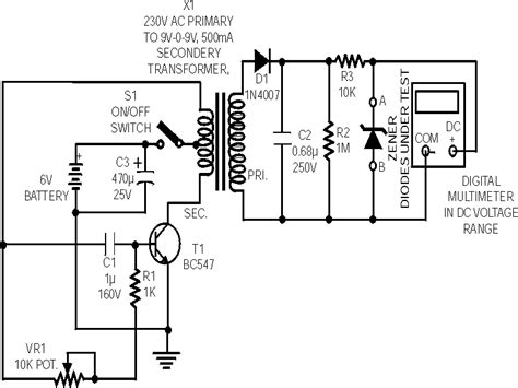 application of zener diode with circuit diagram zener diode tester electronics circuits hobby
