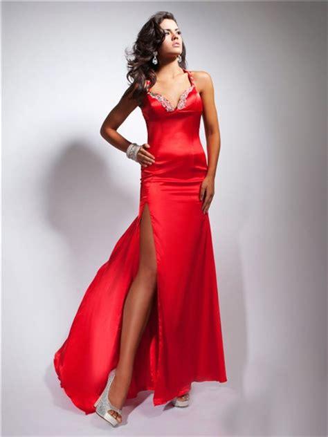 sexy sheath sweetheart backless long red silk prom dress