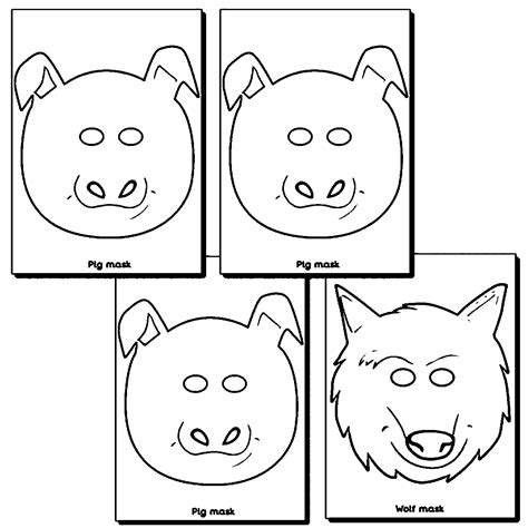 wolf mask coloring page 3 little pigs and wolf masks coloring page wecoloringpage