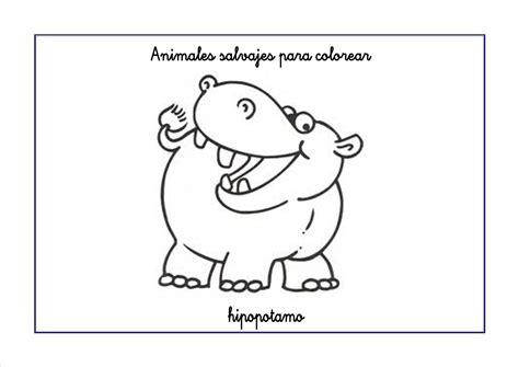 imagenes para colorear hipopotamo dibujos de animales salvajes para colorear
