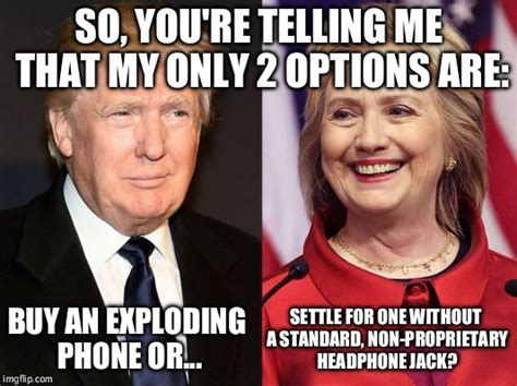 Hillary Clinton Cell Phone Meme - image tagged in donald trump hillary clinton iphone 7