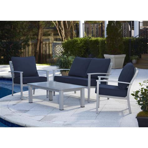 Patio Coffee Table Set Cosco Blue Veil 4 Brushed Aluminum Patio Conversation Set With Coffee Table And Navy Blue