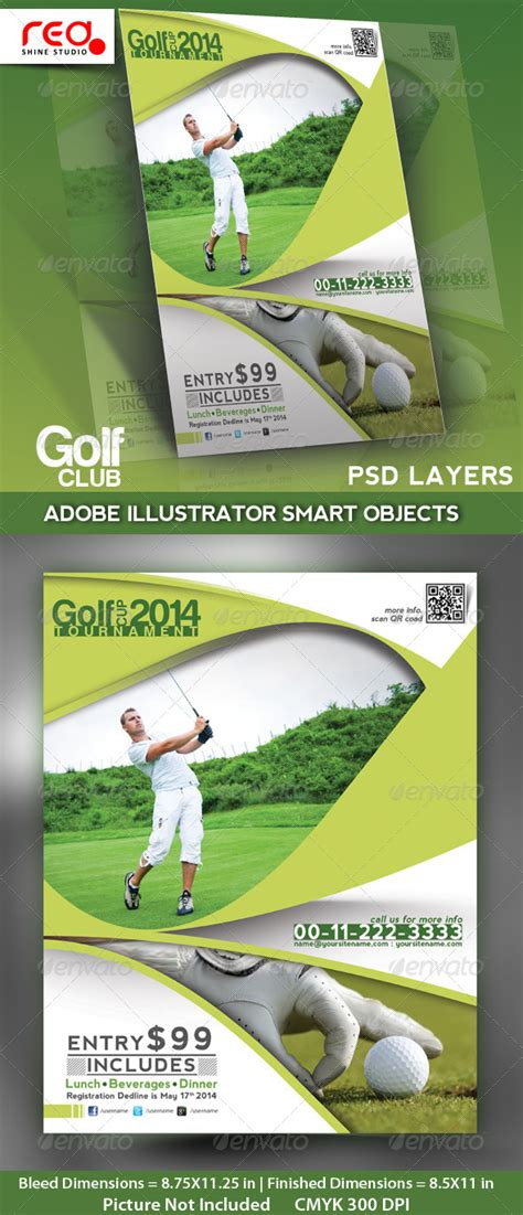 Golf Club Flyer Poster Magzine Template By Redshinestudio Graphicriver Golf Flyer Template