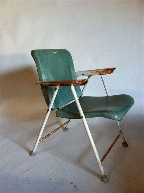 Russel Wright Folding Chair by 1950s Russel Wright Metal Folding Chairs By Samson In