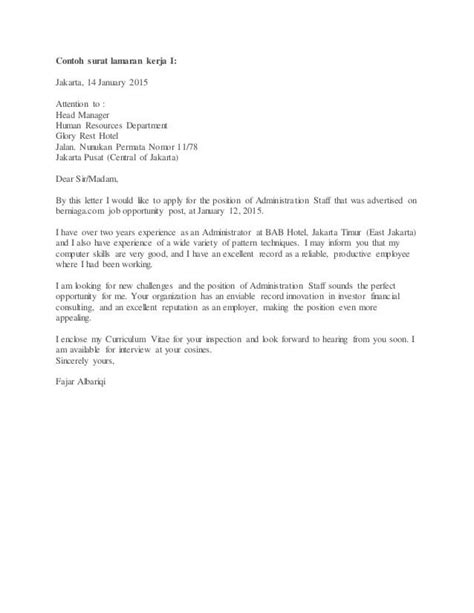 17 Contoh Surat Lamaran Kerja di Hotel Untuk Berbagai