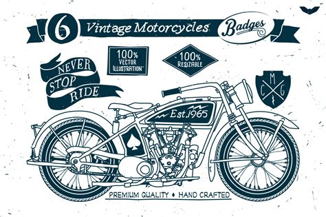 Oldtimer Motorrad Linieren by 6 Vintage Motorcycles Badges Logo Templates On Creative