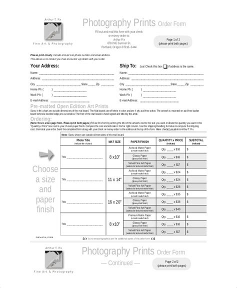 photography order form template 25 best ideas about order form on photography