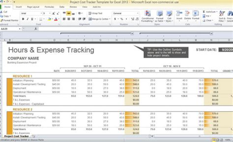project cost template project cost tracker template for excel 2013