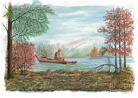 man fishing in boat man in fishing boat painting by samuel showman