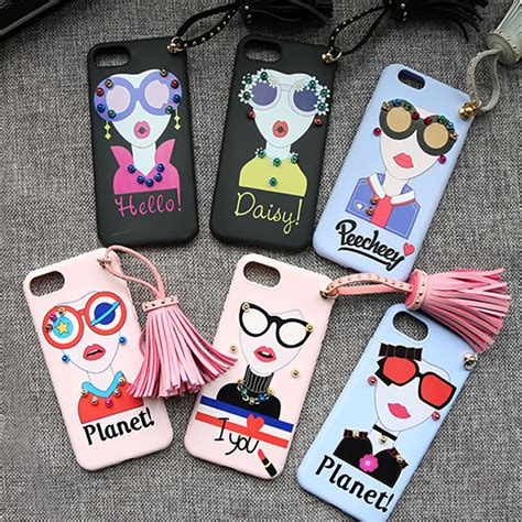 For Iphone 6 6s Soft Fashion Glasses Tassel Korean Cover napeyin new rivet for iphone 6 6s 6plus 7 8 plus fashion pretty tpu tassel shell