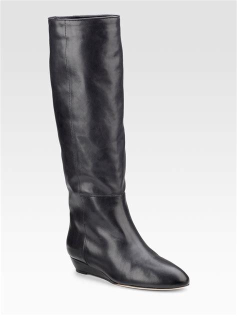 loeffler randall boots loeffler randall classic flat knee high boots in black lyst