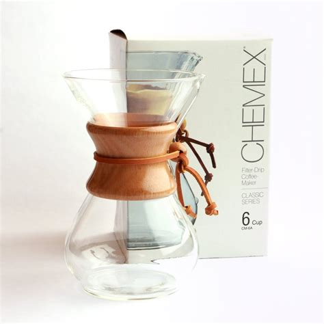 Chemex Classic Series Wood Collar 6 Cups Cm 6a chemex classic 6 cup glass coffeemaker with wood collar
