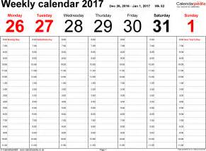 Calendar Template 2017 Weekly Weekly Calendar 2017 Uk Free Printable Templates For Excel