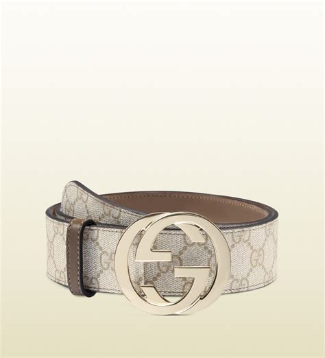 Belt Gucci Canvas Gold Premium gucci gg supreme canvas belt with interlocking g buckle in