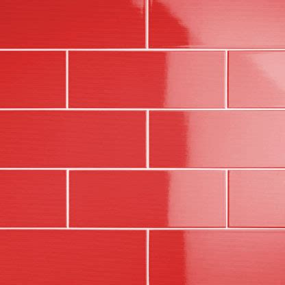Johnson VVD4A Vivid Red Gloss Brick Ceramic Wall Tile
