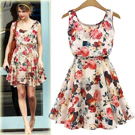 2017 new summer sleeveless dress big flower printed chiffon dress vest fancy dress