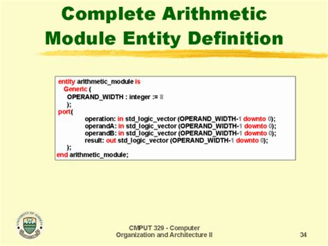completed definition complete arithmetic module entity definition
