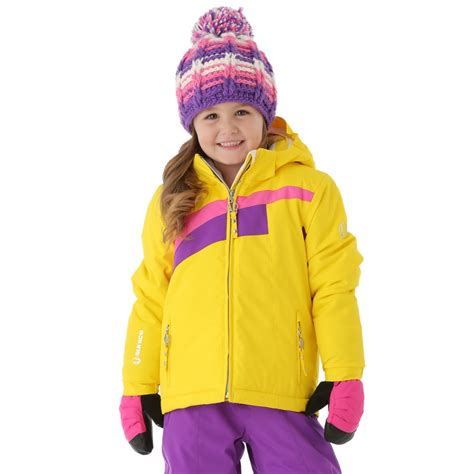 sunice girls little naquita technical jacket yellow pink