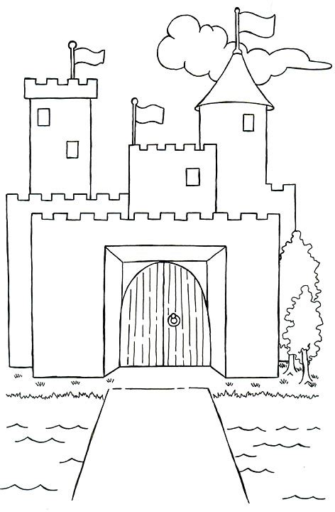 Castle Moat Coloring Page | castle with flags and moat coloring picture