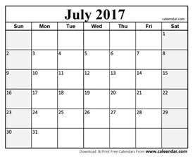 Calendar Of July July 2017 Calendar Templates Caleendar