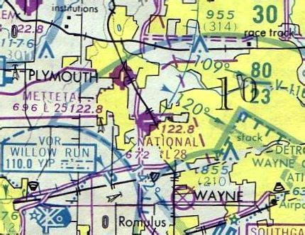 Detroit Sectional Chart by Abandoned Known Airfields Michigan Southern