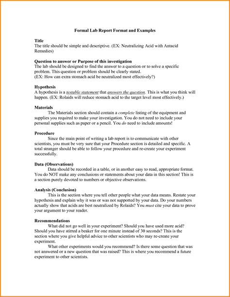 11 Formal Lab Report Template Financial Statement Form Formal Report Template