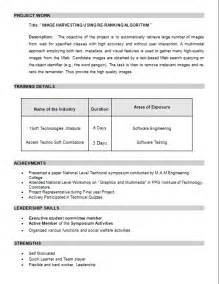Resume Format Doc For Fresher Mca Resume Free Mca Resume Format For Freshers Sle Resume Format For Mca Freshers