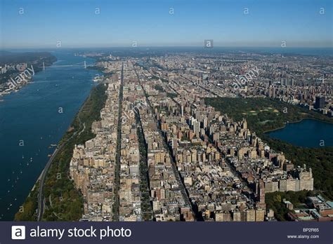 West Side Manhattan Aerial View Above West Side Manhattan New York City