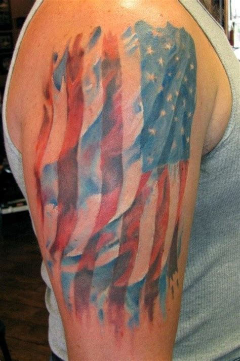 watercolor tattoos usa watercolor american flag on shoulder tattooimages biz