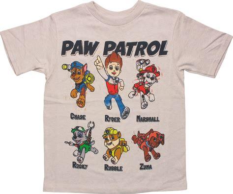 paw patrol names paw patrol grid names juvenile t shirt