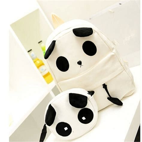 Backpack 4 In 1 Panda Canvas Panda Pattern School Bag Women S Handbag