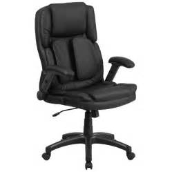 Office Chair With Lumbar Support And No Arms High Back Black Leather Executive Swivel Office Chair With