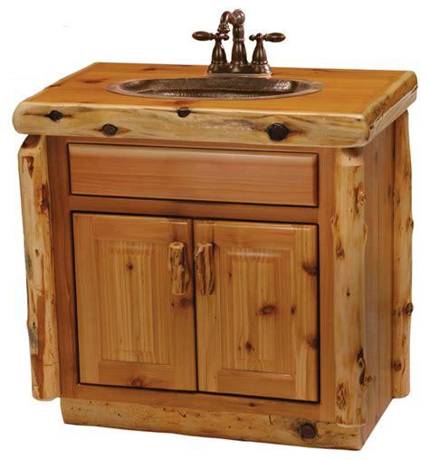 Cedar Vanity Without Top Sink Center 30 Quot Rustic Log Bathroom Vanity