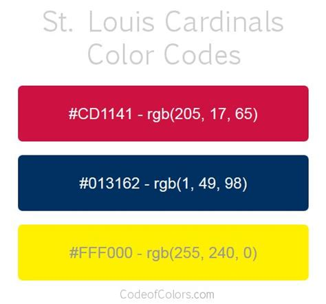 what color are cardinals 30 best images about mlb team colors on