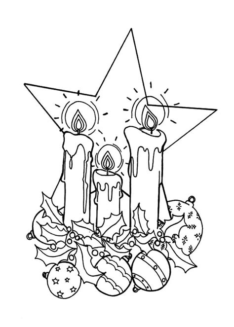 christmas candle   big star coloring pages