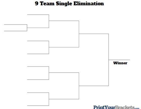 6 team draw template 9 team single elimination printable tournament bracket