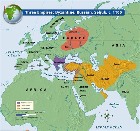 europe and the byzantine empire map 1000 three empires byzantine russian seljuk c 1100 mappe