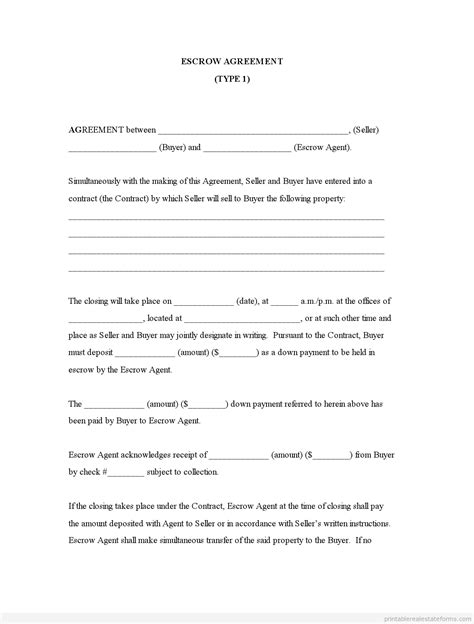 Kinds Of Agreement Letter Free Printable Real Estate Escrow Letter Sle Basic