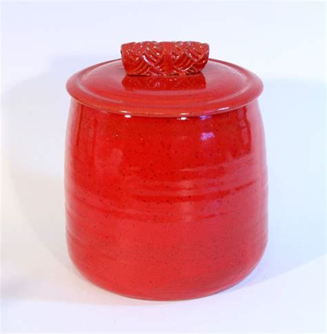 red ceramic canisters for the kitchen large red cookie jar kitchen canister ceramic lidded jar
