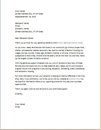 thank you letter for work exle fundraising thank you letter template word excel templates