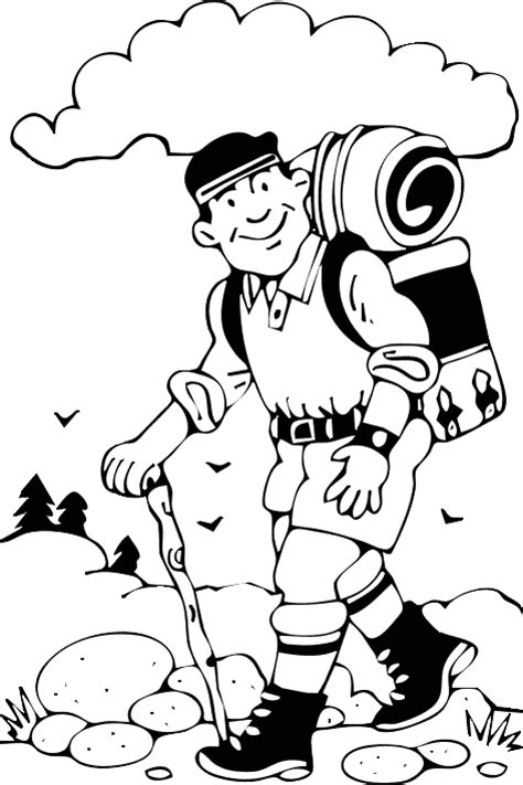 Hiking Coloring Page For Kids  Free Printable Picture sketch template