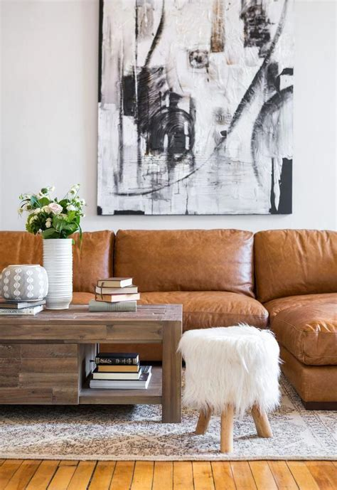 caramel leather sofa cozy living room decor ideas