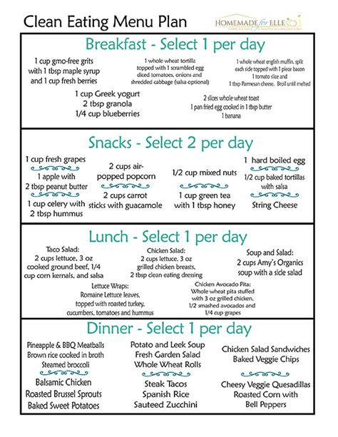 printable clean eating plan weight loss diet sle menu