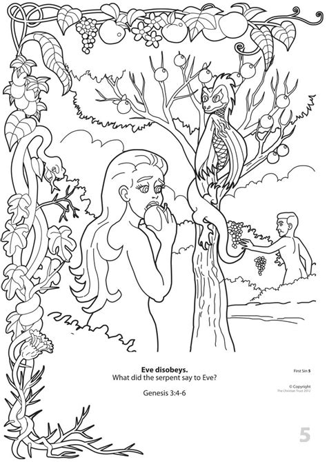 coloring page adam and eve sin first sin colouring book