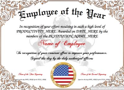 employee of the year free certificate templates for