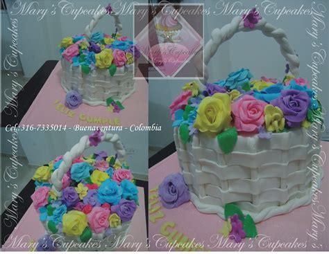 tortas decoradas en forma de canasta quot pastel con forma de canasta de flores decorado en