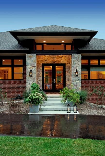 prairie style home contemporary entry detroit by vanbrouck associates inc