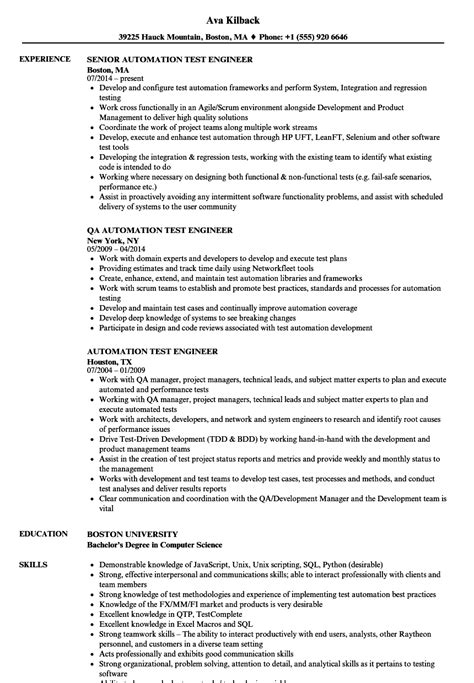 sle resume for experienced automation test engineer automation test engineer resume sles velvet