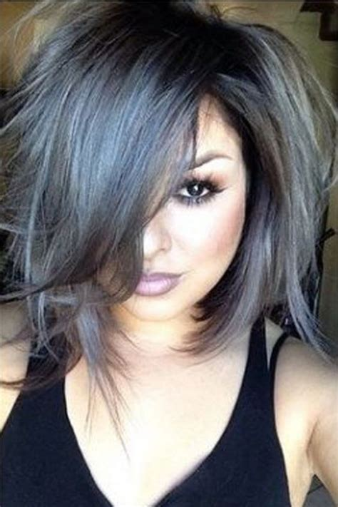 images of silver highlights on very dark short hair messy grey bob 21 pinterest looks that will convince you