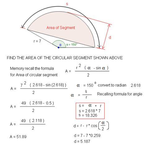 area calculater area of circular segment calculator